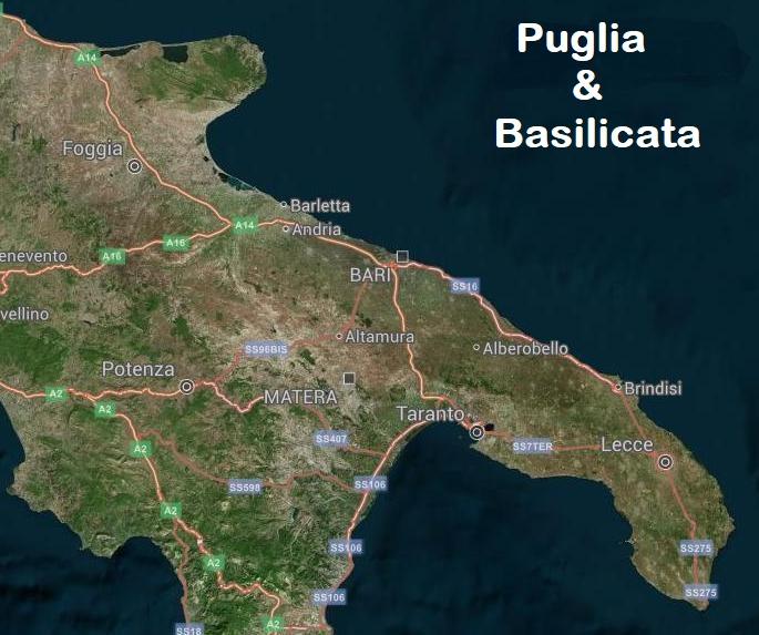 Mappa Puglia E Basilicata.Escursioni In Puglia And Basilicata